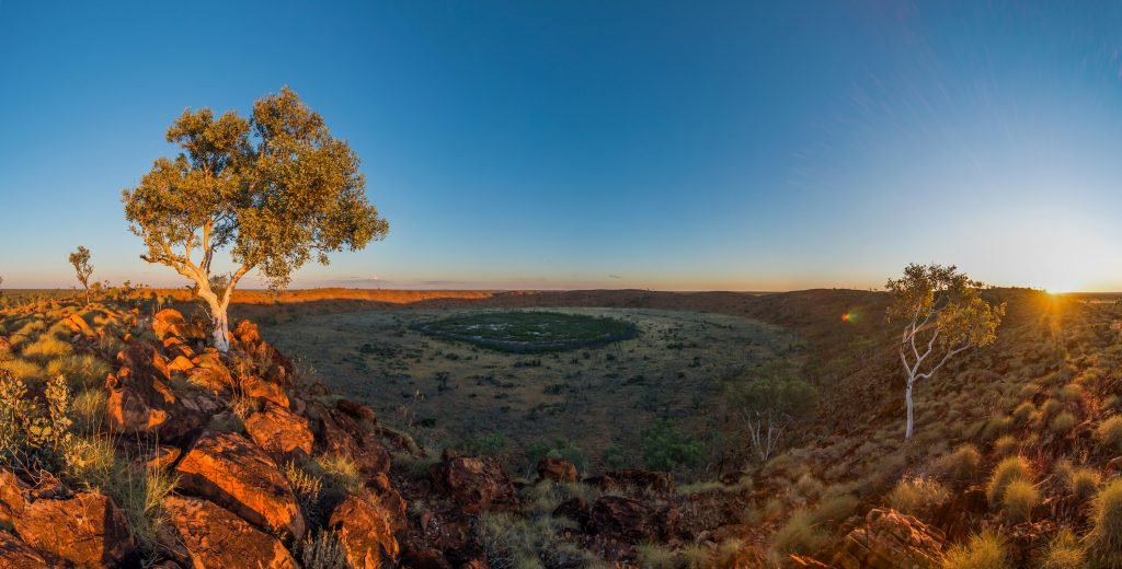 A large crater in the middle of the land and the crater is called Wolfe Creek can only be found in Western Australia.