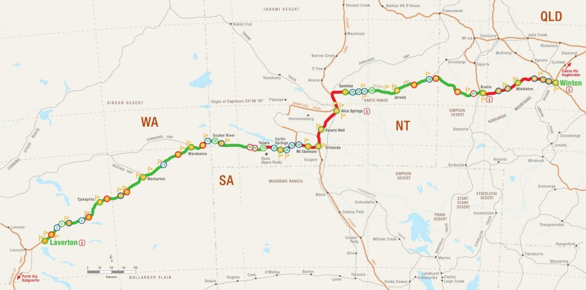 map of the Outback Way route